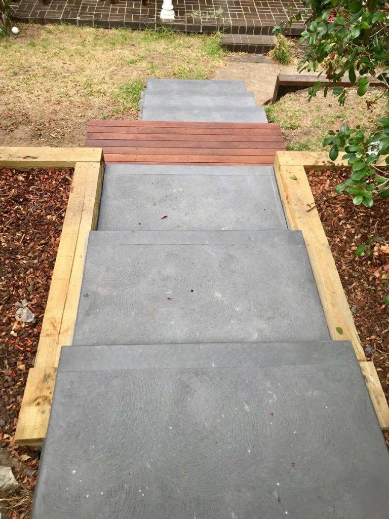 Sloping Back Yard Concrete Stairs