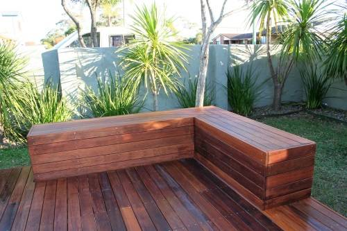 Sanctuary point project deck and bench seat fresh for Landscape timber bench