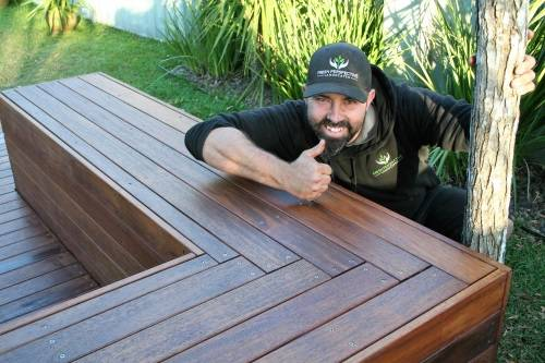 Timber Decking bench seat, timber landscape construction, landscaping blue mountains, structural landscaping, fresh perspective landscapes