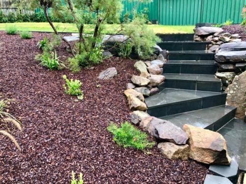Bluestone stairs, natural stone retaining wall