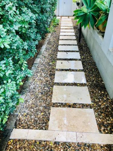 Travertine paved path