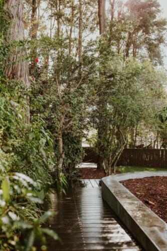 SPRINGWOOD garden makeover  corten rings for orchard area, treated pine edging, Ekodeck boardwalk