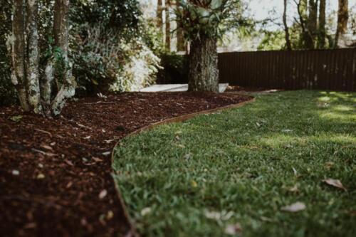 SPRINGWOOD garden makeover  treated pine edging and turf.