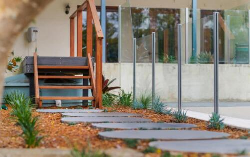 Blue Stone Steppers and stairs with Merbau railings