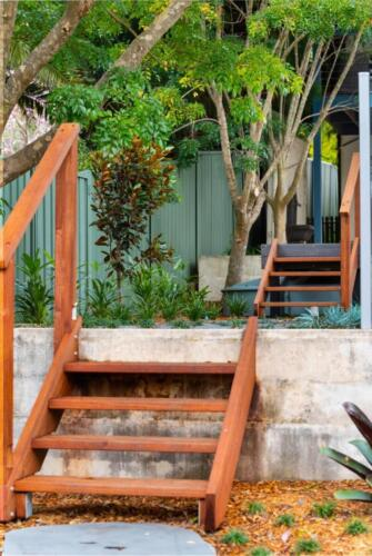 Blue Stone Steppers and Merbau Hand rail