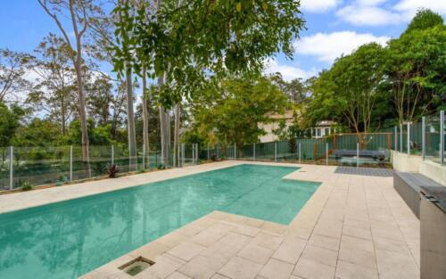 Paved pool landscaping