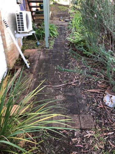 Before shot of old paved side area