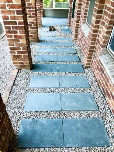 Blue stone paver stepping stone path