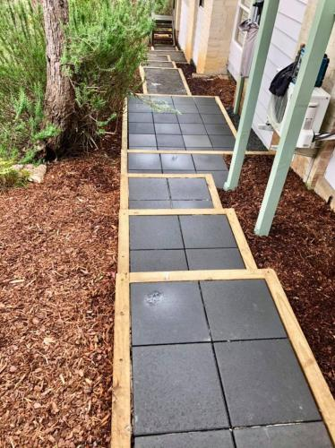 Charcoal paved boxed staircase