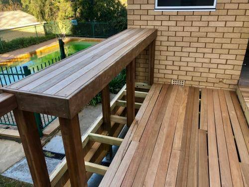 Fresh Perspective Landscapes Landscaping Blue Mountains Penrith Hawkesbury Structural Decking Timber Bench Seat Bar Quality Insured Licenced 11