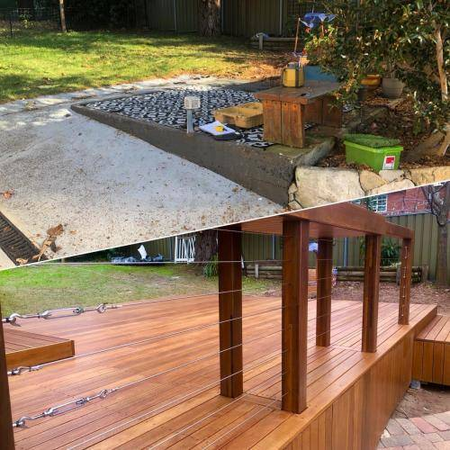 Fresh Perspective Landscapes Landscaping Blue Mountains Penrith Hawkesbury Structural Decking Timber Bench Seat Bar Quality Insured Licenced 19