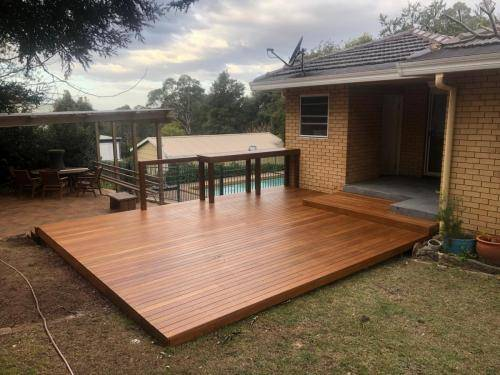 Fresh Perspective Landscapes Landscaping Blue Mountains Penrith Hawkesbury Structural Decking Timber Bench Seat Bar Quality Insured Licenced 9