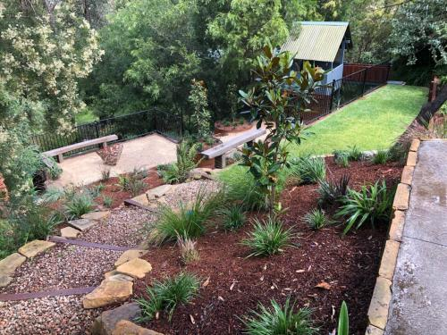 Fresh Perspective Landscapes Winmalee Blue Mountains landscape construction sloping block retaining paving timber stone wall terrace garden design 6