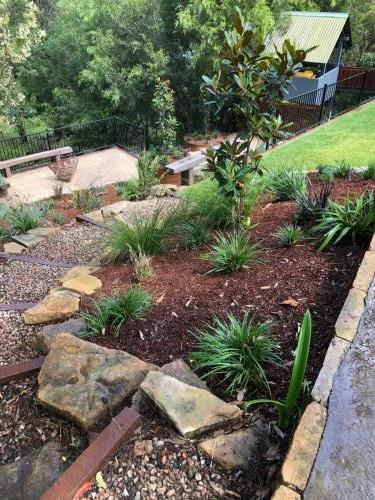 Fresh Perspective Landscapes Winmalee Blue Mountains landscape construction sloping block retaining paving timber stone wall terrace garden design 7