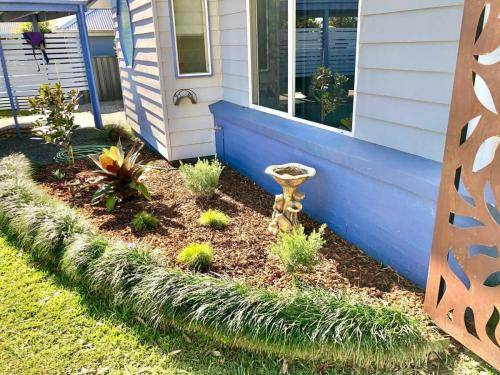 Garden Bed Plants and Water Feature