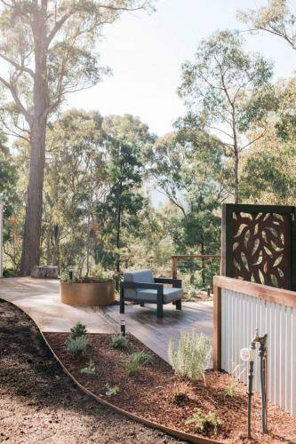 Outdoor Fire Pit and corten privacy screen