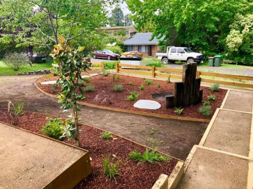 Mulched garden beds