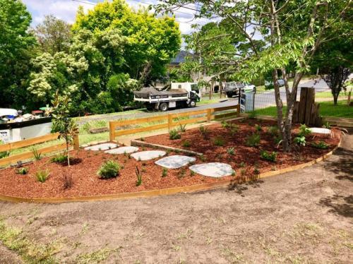 Mulched native garden bed