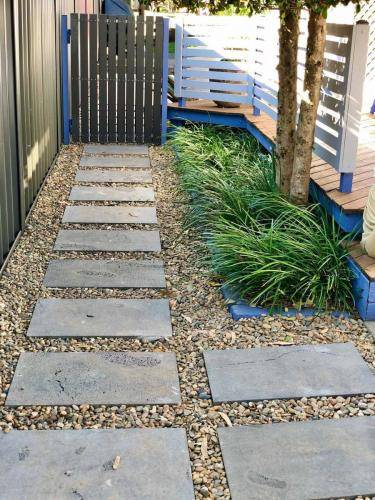 Paved Walkway with Pebbles