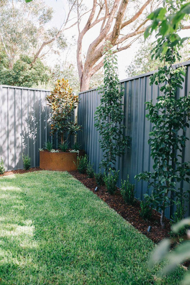 Wentworth Falls Landscaping, Corten feature rings, feature tree