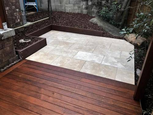 Springwood fresh perspective landscapes structural landscaping blue mountains landscape construction timber deck merbau travertine gate bamboo screen stairs15