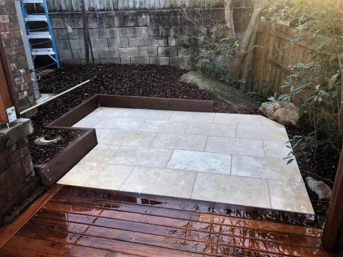 Springwood fresh perspective landscapes structural landscaping blue mountains landscape construction timber deck merbau travertine gate bamboo screen stairs7
