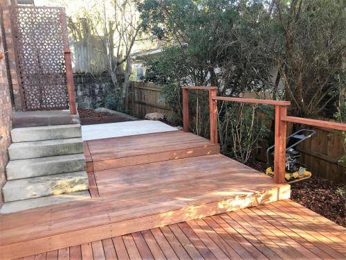 Springwood fresh perspective landscapes structural landscaping blue mountains landscape construction timber deck merbau travertine gate bamboo screen stairs9