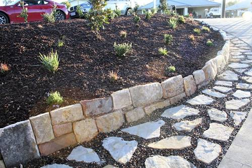 Stone wall paving pebbles, retaining wall, landscape construction blue mountains winmalee structural fresh perspective