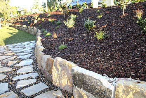 Stone wall paving pebbles retaining turf planting maintenance landscape construction blue mountains winmalee structural fresh perspective landscapes21V2 dpi100