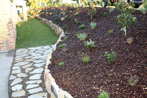Stone wall paving pebbles, retaining wall, turf planting maintenance landscape construction blue mountains winmalee structural fresh perspective landscapes