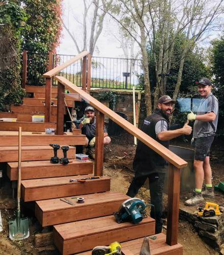 Timber stairs decking pathway landscape construction blue mountains Leura fresh Perspective Landscapes corten pots concrete custom-05 small