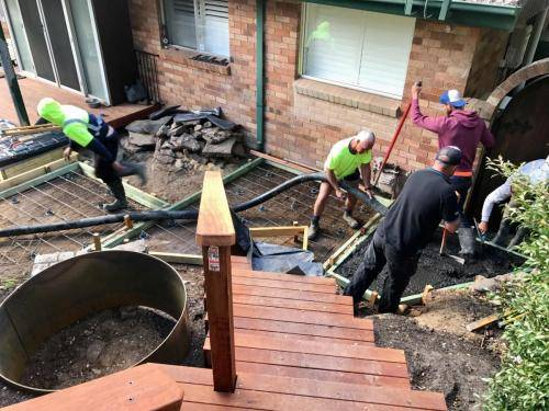 Timber stairs decking pathway landscape construction blue mountains Leura fresh Perspective Landscapes corten pots concrete custom-08 small