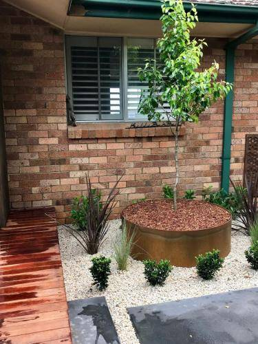 Timber stairs decking pathway landscape construction blue mountains Leura fresh Perspective Landscapes corten pots concrete custom-15 small
