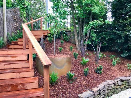 Timber stairs decking pathway landscape construction blue mountains Leura fresh Perspective Landscapes corten pots concrete custom-19 small