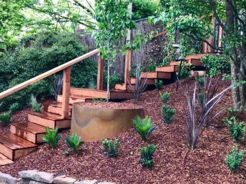 Timber stairs decking pathway landscape construction blue mountains Leura fresh Perspective Landscapes corten pots concrete custom-21 small