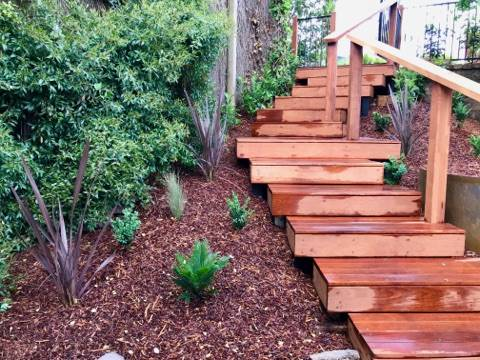 Timber stairs decking pathway landscape construction blue mountains Leura fresh Perspective Landscapes corten pots concrete custom-22 small