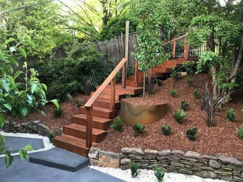 Timber stairs decking pathway landscape construction blue mountains Leura fresh Perspective Landscapes corten pots concrete custom-24 small