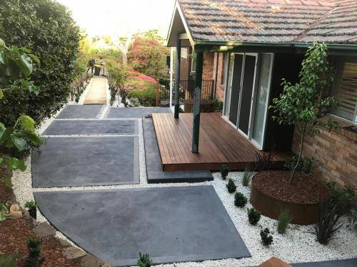 Timber stairs decking pathway landscape construction blue mountains Leura fresh Perspective Landscapes corten pots concrete custom-26 small