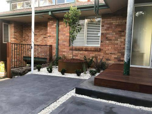 Timber stairs decking pathway landscape construction blue mountains Leura fresh Perspective Landscapes corten pots concrete custom-27 small