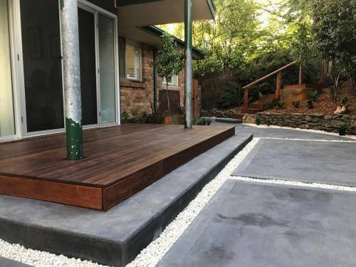 Timber stairs decking pathway landscape construction blue mountains Leura fresh Perspective Landscapes corten pots concrete custom-28 small