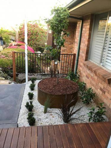 Timber stairs decking pathway landscape construction blue mountains Leura fresh Perspective Landscapes corten pots concrete custom-30 small
