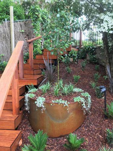 Timber stairs decking pathway landscape construction blue mountains Leura fresh Perspective Landscapes corten pots concrete custom-37 small