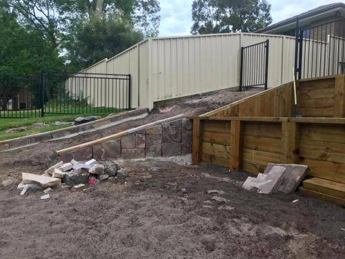Warrimoo terraces retaining wall sloping block paving sandstone turf landscape construction blue mountains structural fresh perspective landscapes Winmalee 11