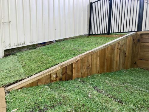 Warrimoo terraces retaining wall sloping block paving sandstone turf landscape construction blue mountains structural fresh perspective landscapes Winmalee 16