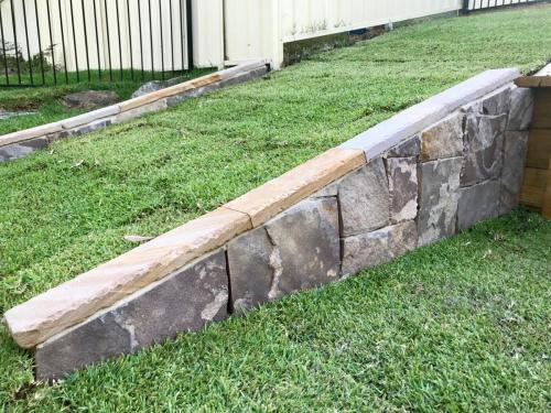 Warrimoo terraces retaining wall sloping block paving sandstone turf landscape construction blue mountains structural fresh perspective landscapes Winmalee 17