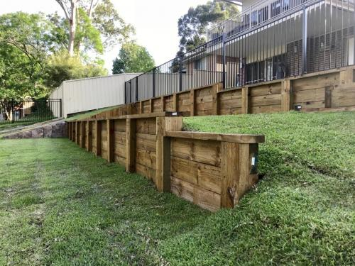 Warrimoo terraces retaining wall sloping block paving sandstone turf landscape construction blue mountains structural fresh perspective landscapes Winmalee 18