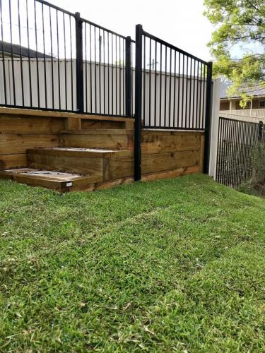 Warrimoo terraces retaining wall sloping block paving sandstone turf landscape construction blue mountains structural fresh perspective landscapes Winmalee 19