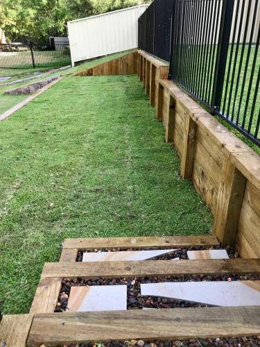 Warrimoo terraces retaining wall sloping block paving sandstone turf landscape construction blue mountains structural fresh perspective landscapes Winmalee 22