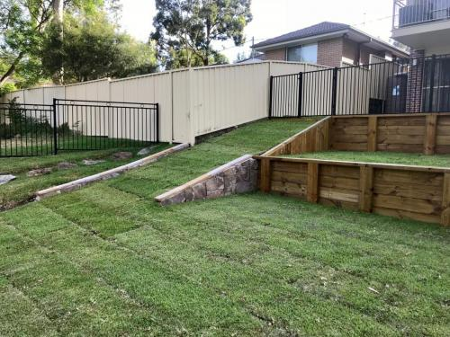 Warrimoo terraces retaining wall sloping block paving sandstone turf landscape construction blue mountains structural fresh perspective landscapes Winmalee 24