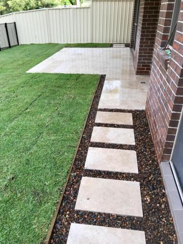Warrimoo terraces retaining wall sloping block paving sandstone turf landscape construction blue mountains structural fresh perspective landscapes Winmalee 27